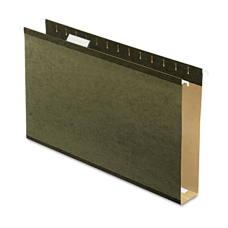 "Pendaflex Reinforced 2"" Extra Capacity Hanging Folders Legal Standard Green 25"