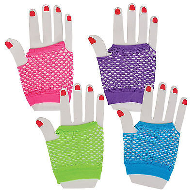 12 Assorted Fingerless Diva Fishnet Hand Gloves Green Purple Neon Pink Blue