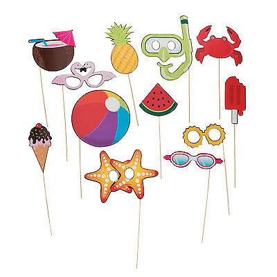12 Summer LUAU Photo booth Stick Props GAME tropical beach pool birthday - Photo Booth Wholesale