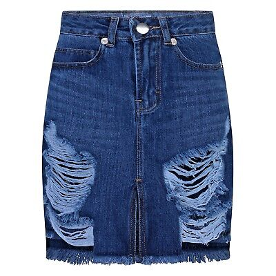 REAL HOXTON Ripped Womens Denim Skirt, Frayed Hem Vintage Look, Distressed Skirt