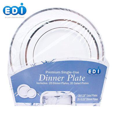 EDI Premium Disposable Plastic plates (20 Dinner + 20 Salad plates) White - White Plastic Dinner Plates