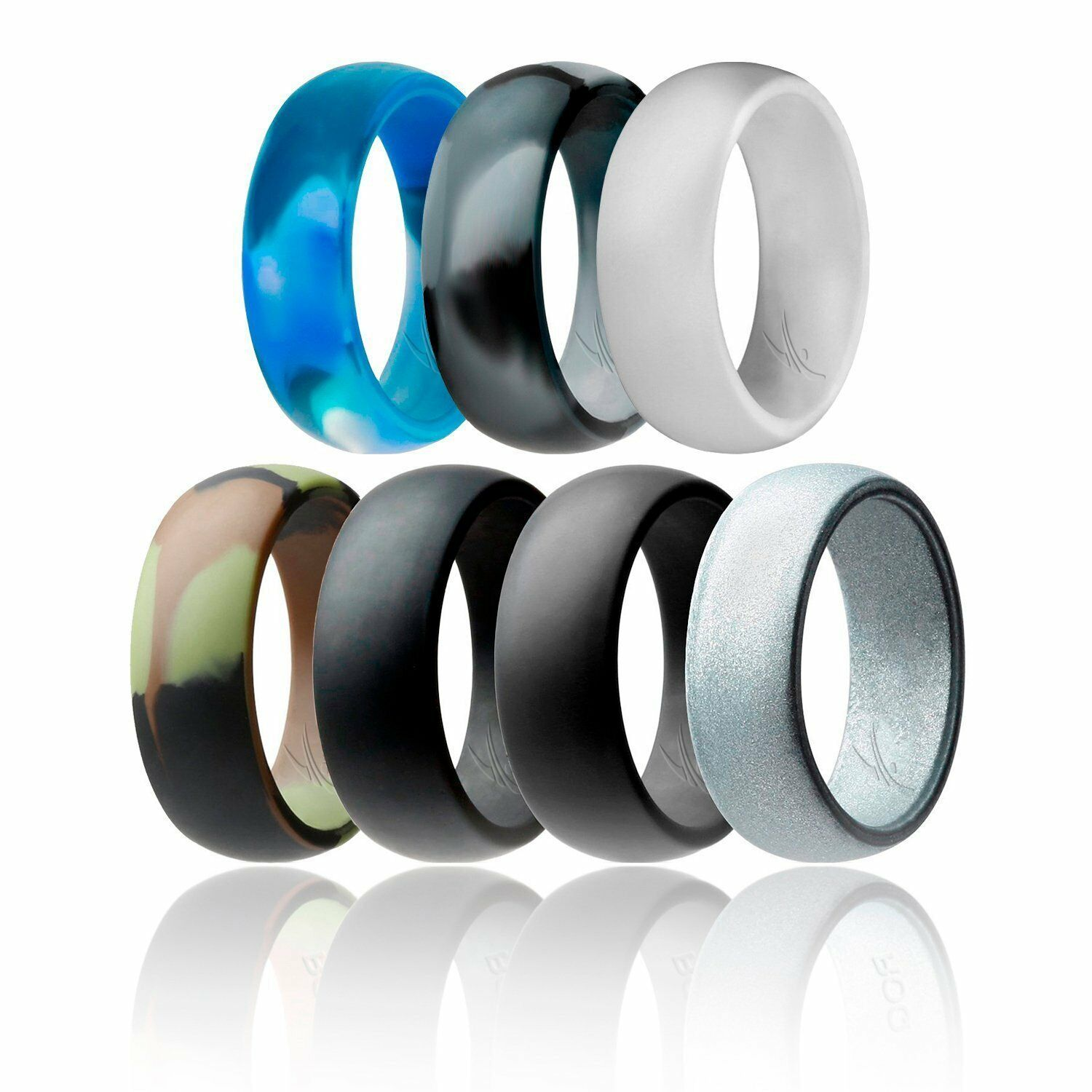 ROQ 7 Pack of Silicone Wedding Rings for Men, Sturdy and Fle