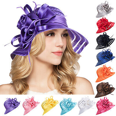 Satin Floral Feather Womens Dress Church Sun Wedding Kentucky Derby Hats A214