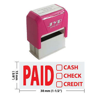 Paid Cash Check Credit - Jyp 4911r Self Inking Rubber Stamp Red Ink