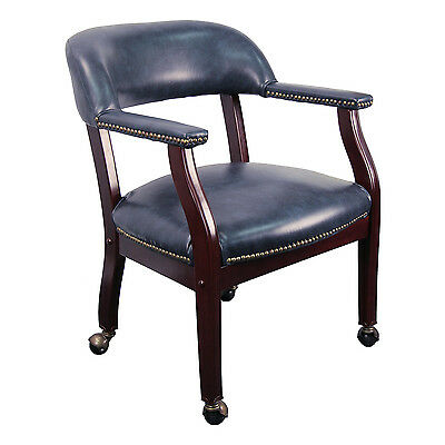 Conference Room Chairs - Navy Blue Vinyl Luxurious Conference Chair On Casters