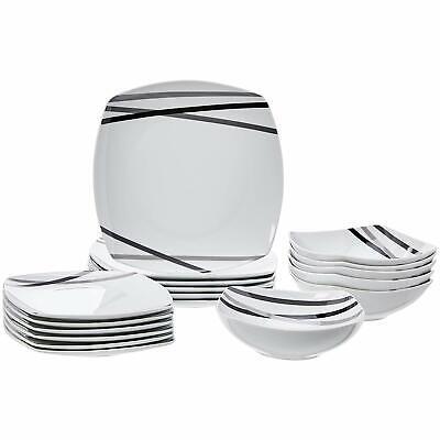 Dinnerware Set Kitchen Service For 6 Porcelain Plates Modern Design White Black