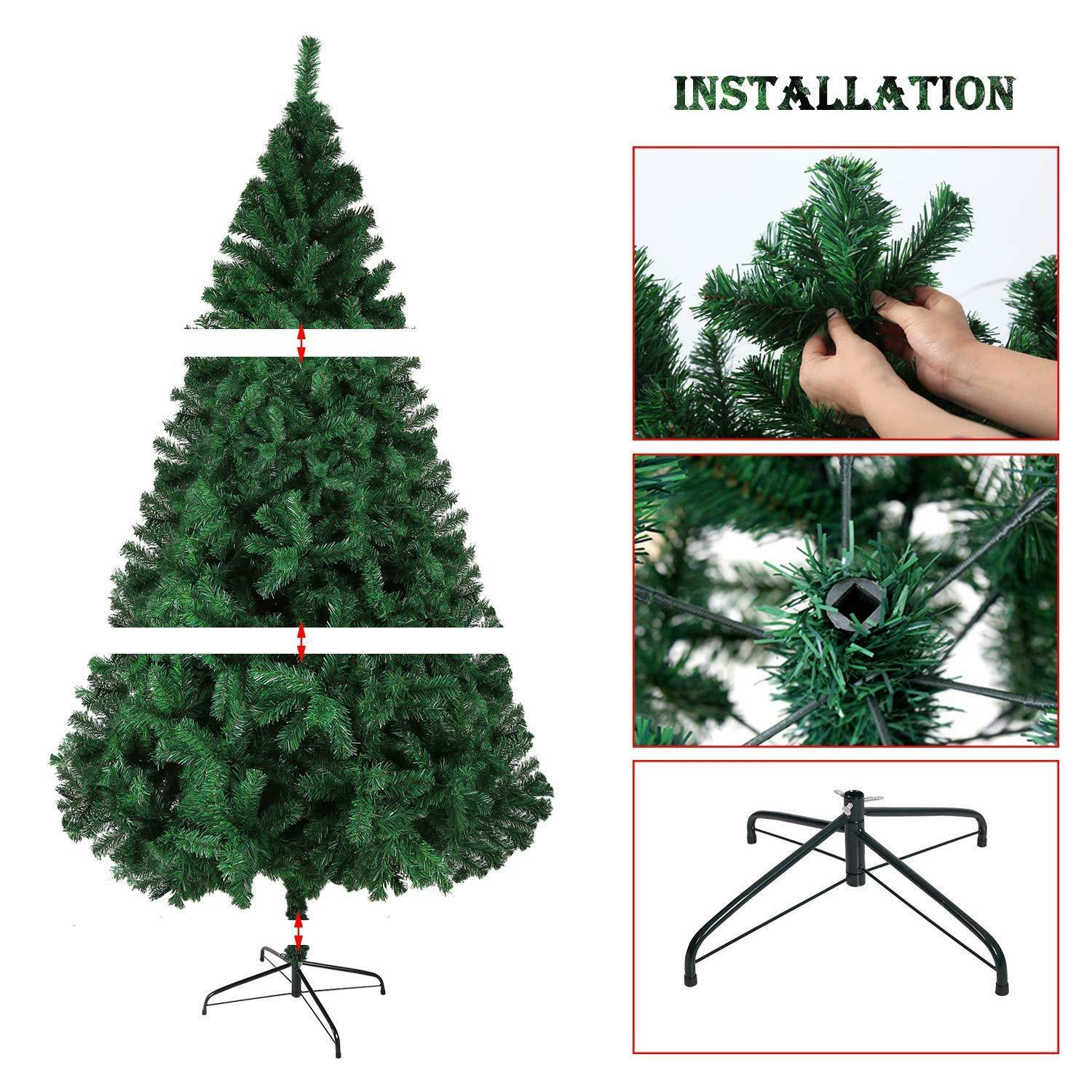 4//5//6ft Christmas Tree Artificial Deluxe 300 LED Warm White Lights W//Stand