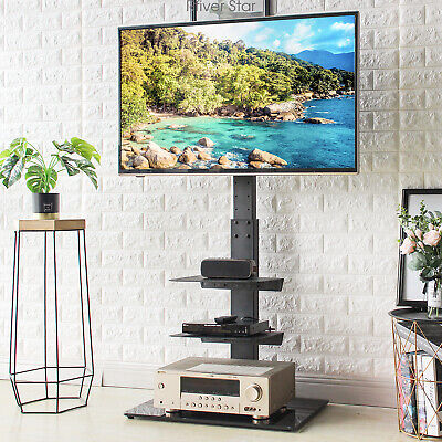 Floor Tv Stand With Swivel Mount And Height Adjustable For 32 65 3 Shelf For Sale Online Ebay