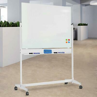 Mobile Magnetic Glass Whiteboard Large Dry-erase Board With Stand And Casters