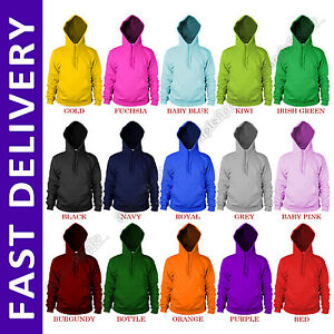 Gildan-Plain-Hoodie-Hoody-Sweatshirt-Sweater-Top-Jumper-Mens-Womens-Boys-Girls