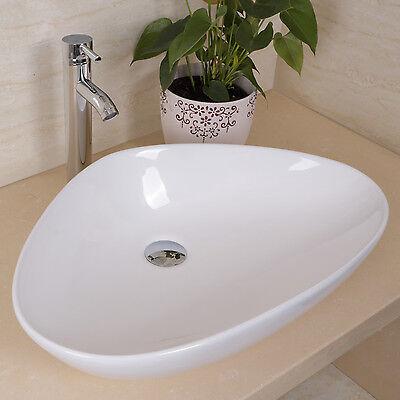 Triangle Ceramic Bathroom Vessel Vanity Bowl Sink White w/Pop Up Drain Faucet