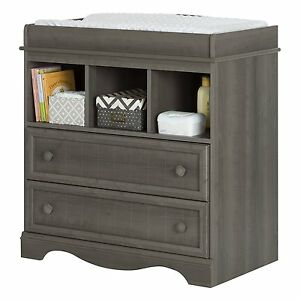 South Shore Savannah Changing Table With 2 Drawers, 3 Open Storage In Gray  Maple