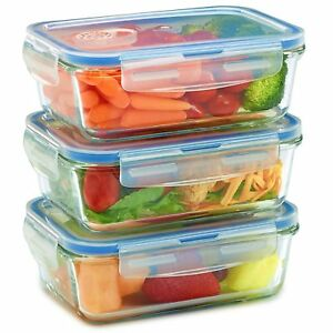 Glass Meal Prep Containers for Food Storage and Prep w/ Snap Locking Lids 3pk
