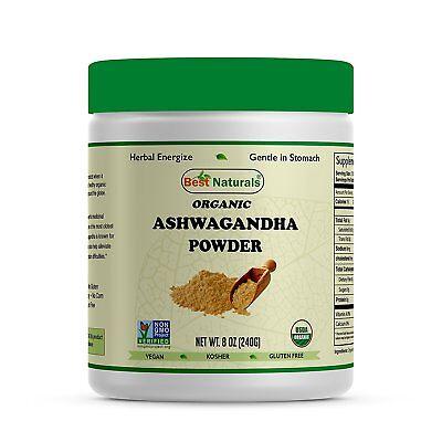 Best Naturals USDA Certified Organic Ashwagandha Powder 8 OZ (240 Gram),