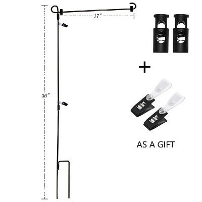 Wrought Iron Yard Garden Flag Stand Pole 36 Black Post Outdoor Decor Holder Easy](Yard Flag Pole)