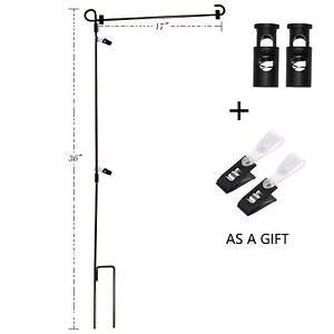 Wrought Iron Yard Garden Flag Stand Pole 36 Black Post Outdoor Decor Holder Easy