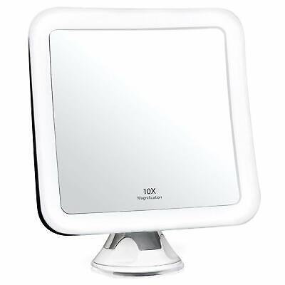 Specchio Ingranditore per Trucco 10x con Luce LED e Ventosa Potente