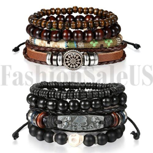 Jewellery - 2 Sets(8pcs) Black Skull Leather Men Women Tribal Beaded Cuff Wristband Bracelet