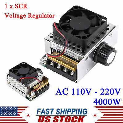 Ac 110-220v 4000w Scr Motor Speed Controller Volt Regulator Dimmer Thermostat Us