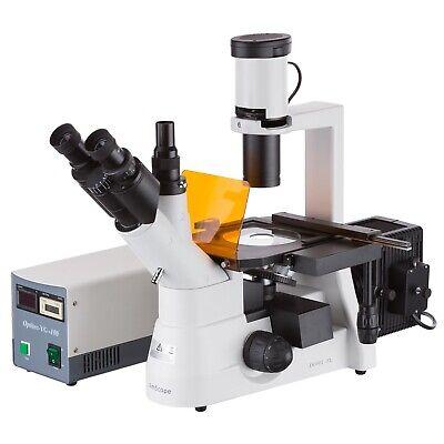 Amscope 40x-1000x Phase Contrast Inverted Fluorescent Microscope 3mp Camera
