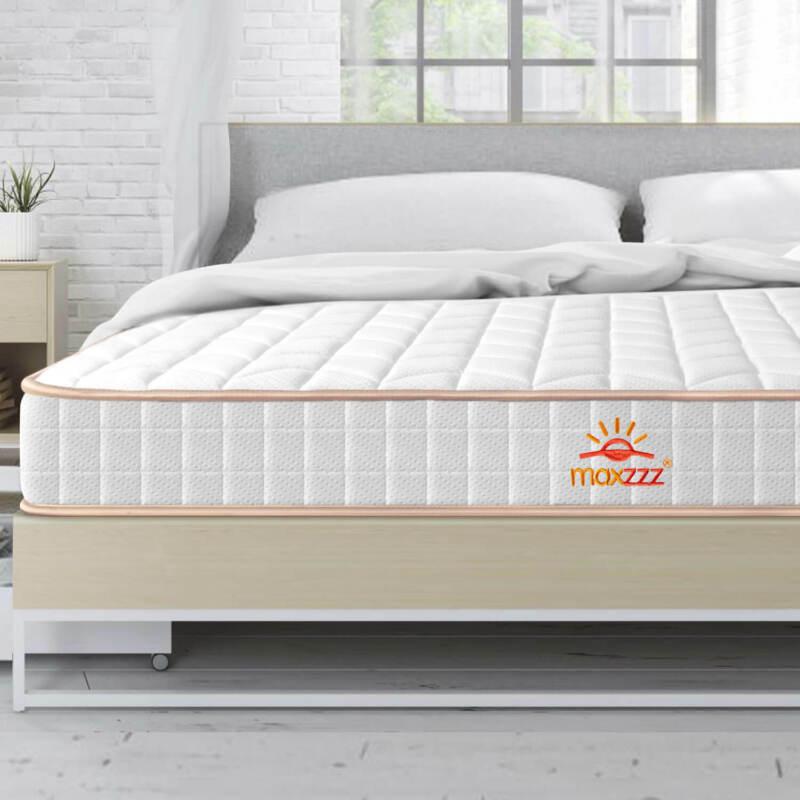Maxzzz 6 Inch Medium Firm Bonnell Coil Spring Memory Foam Bed Mattress Queen