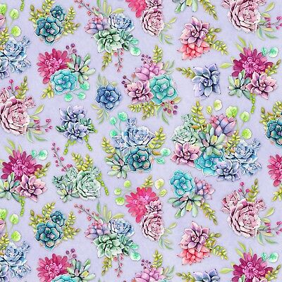 Wilmington Humming Along Purple Succulent Garden 100% Cotton Quilting Fabric -