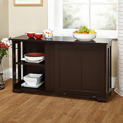 Kitchen Storage Island Cabinet Wood Top Buffet Cupboard Counter Table NEW