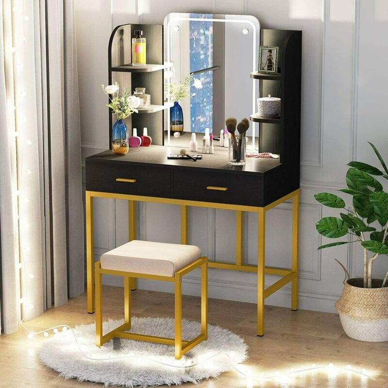 Vanities & Makeup Tables, Vanity Set with LED Lighted Mirror and Cushioned Stool