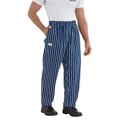 New Chefwear Mens 100 Cotton Baggy Chef Pants Blue With White Stripes S-5xl