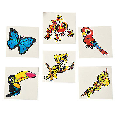 36 Assorted Fun Rain Forest Friends Kids Temporary Tattoos Party Favors (Friends Tattoos)