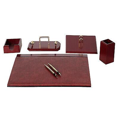 Flash 6 Pcs Desk Blotter Set Made Of Imitation Leather Wood In Bordeaux