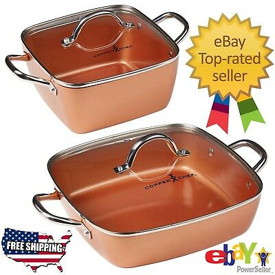"Copper Chef 4-Piece 8"" & 12"" Nonstick Deep Casserole Pans Set with Lids Cookware"