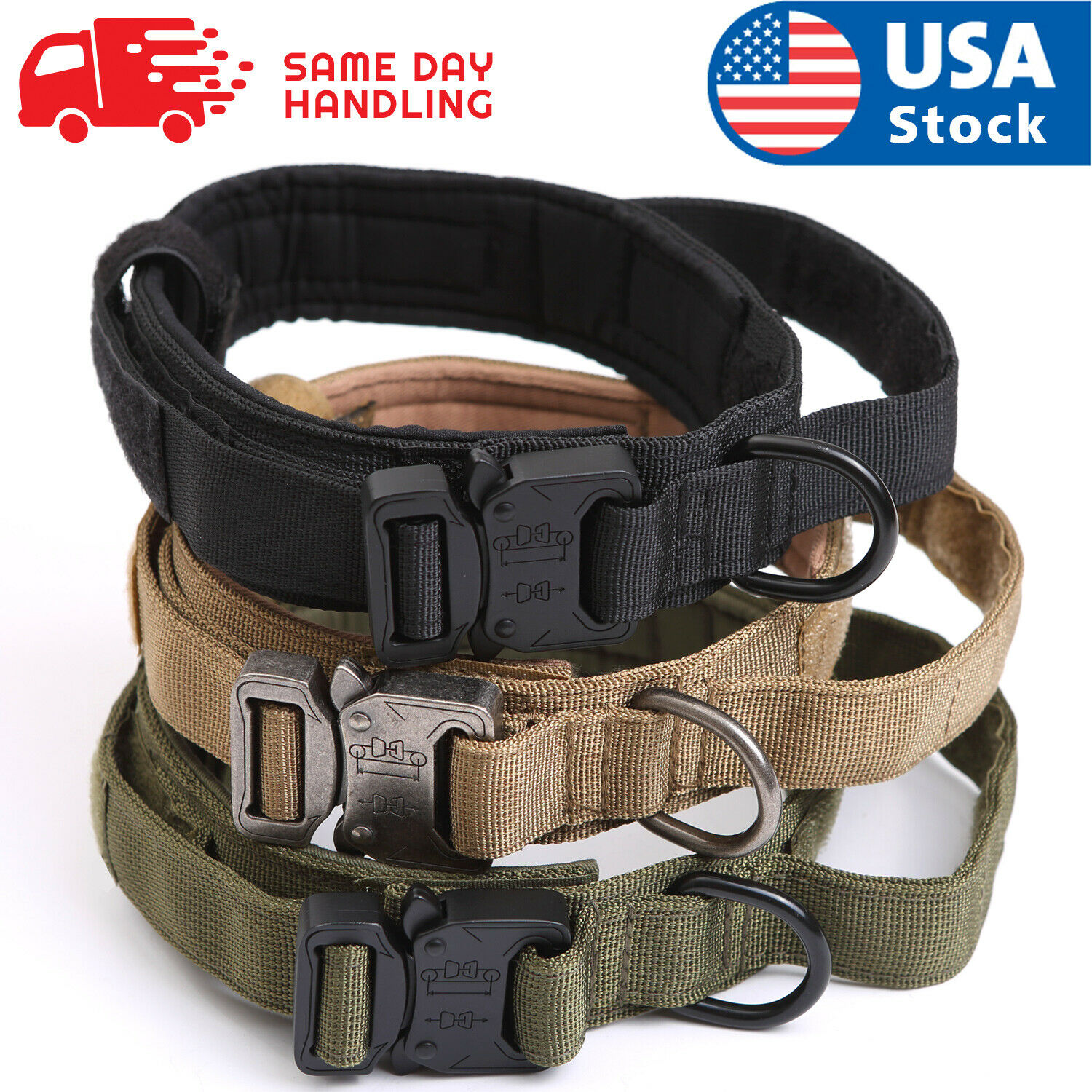 Tactical Military K9 Dog Training Collar with Metal Buckle for L Dog Heavy Duty Collars