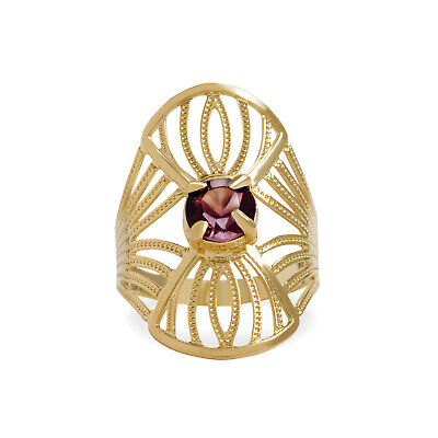14k Yellow Gold Filled Ring for Women with Purple Cubic Zirconia, Cocktail Band