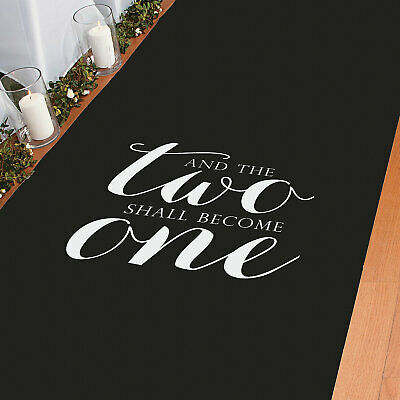 """""""And Two Become One"""" Black Aisle Runner - Wedding Decor - 1 Piece"""