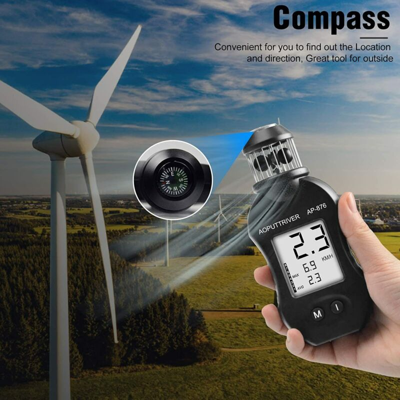 Wind Speed Meter Cup Anemometer Measuring Air Speed Volume for HVAC Vents Boat