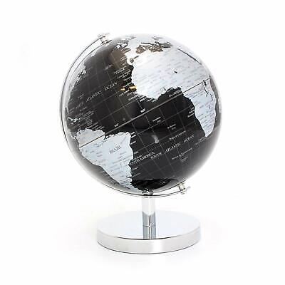 CONTEMPORARY BLACK & SILVER SMALL GLOBE METAL BASE ATLAS TABLE DESK ORNAMENT