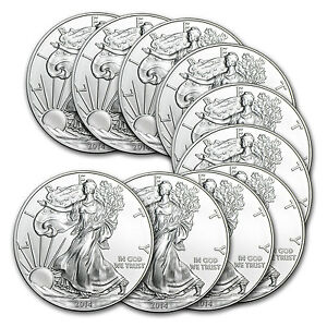 2014 1 oz Silver American Eagle (Lot of 10)