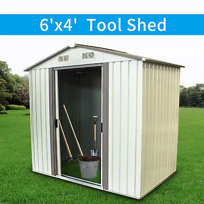 6'x4' Outdoor Garden Storage Shed Tool House Toolshed Sliding Door Steel White