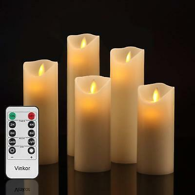 5pcs Flameless Candles LED Flickering Pillar Moving Remote Battery w/Timer  US  (Battery Candles)