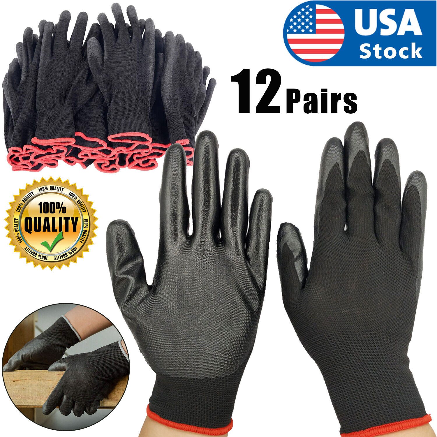 USA 12 Pairs Work Gloves Ultra-Thin Safety Polyurethane Coated Nylon Shell Black Business & Industrial