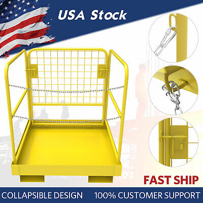 Forklift Safety Cage Man Work Platform 36x36 Heavy Duty Steel Cage Collapsible