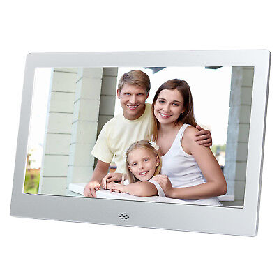 """10"""" Digital Photo Metal Frame LED Picture Video Player Silver Remote Top Quality"""