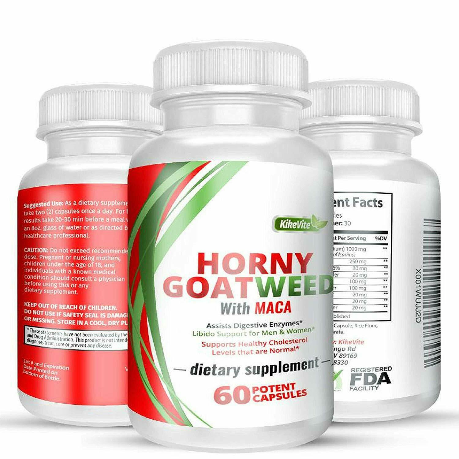 Natural Horny Goat Weed with Maca Root for Men and Women1000