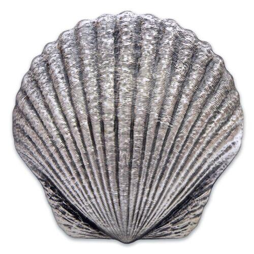 SCALLOP - CASTAWAY SEASHELLS 1oz Silver Coin Antiqued FIJI 2019