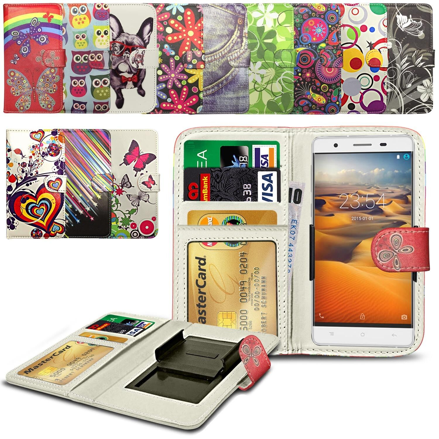 For-ZTE-Zmax-2-Printed-Design-PU-Leather-Wallet-Case-Cover-