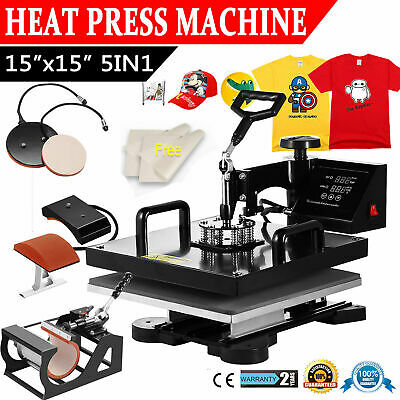 "15""x15"" 5 in 1 Heat Press Machine Digital Transfer Sublimation T-Shirt Mug Hat"