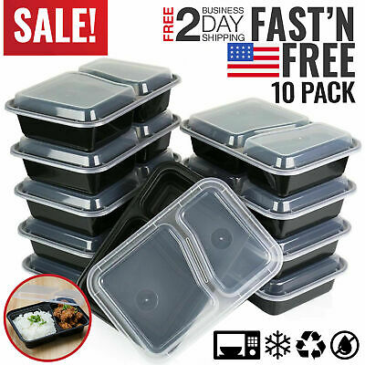 Meal Food Prep Containers Storage Bento Lunch Box Plastic Compartment...