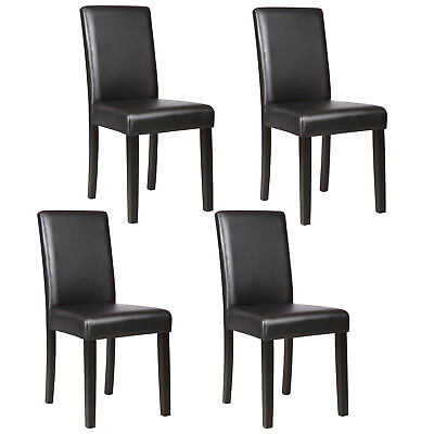 Dining Chairs Set of 1/2/4/6/8/10/12 pieces Leather in Black / Brown / (2 Dining Chairs)