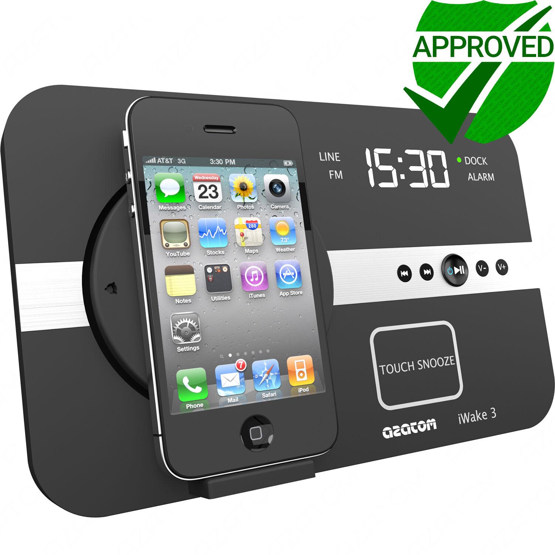 docking station speaker radio alarm ipod iphone ipod touch classic azatom iwake3 ebay. Black Bedroom Furniture Sets. Home Design Ideas